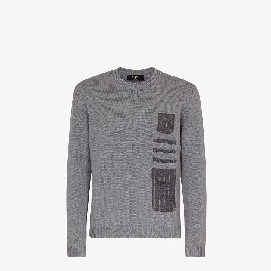 FENDI SWEATER - Gray wool sweater - view 1 detail