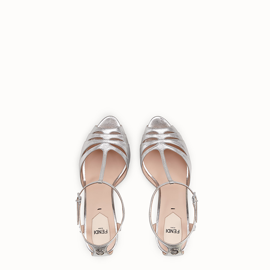 FENDI SANDALS - Silver leather high-heel sandals - view 4 detail