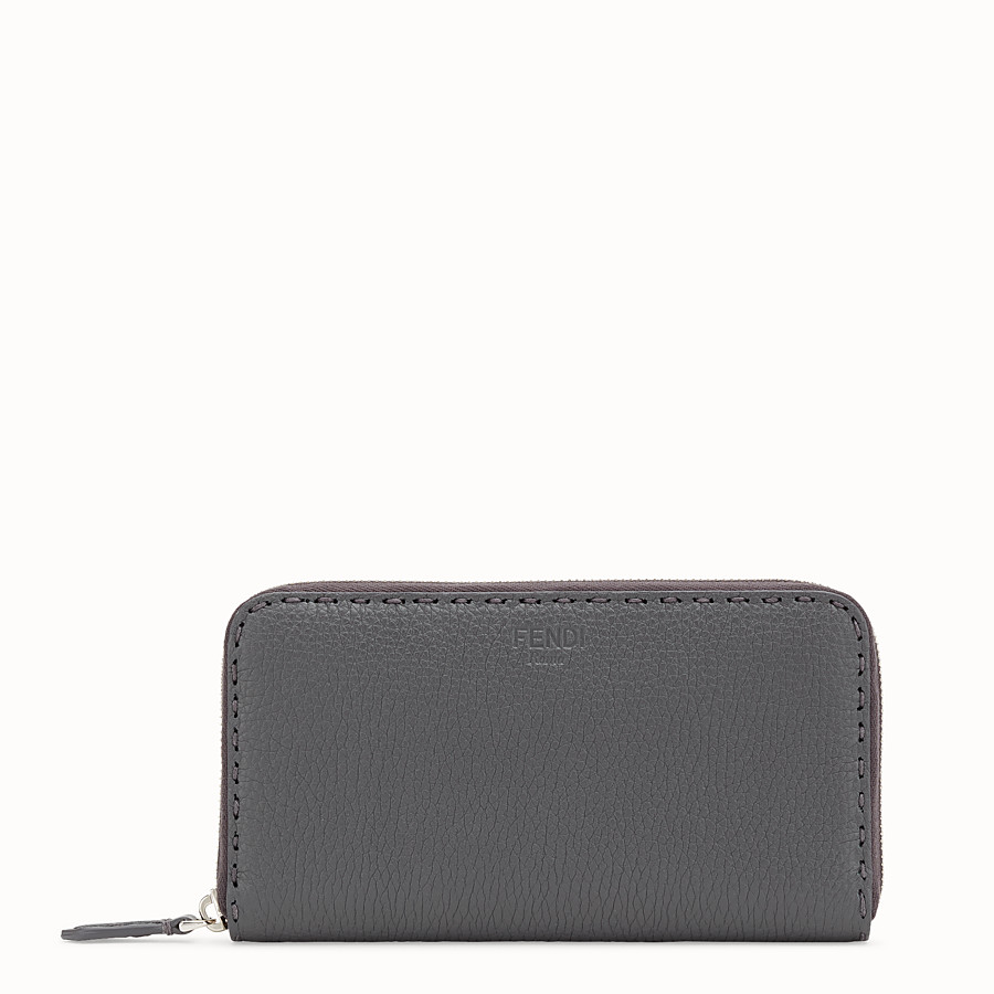 FENDI ZIP-AROUND - Wallet in gray leather - view 1 detail
