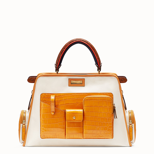 FENDI PEEKABOO REGULAR - Bolso de lona beige con funda - view 1 small thumbnail