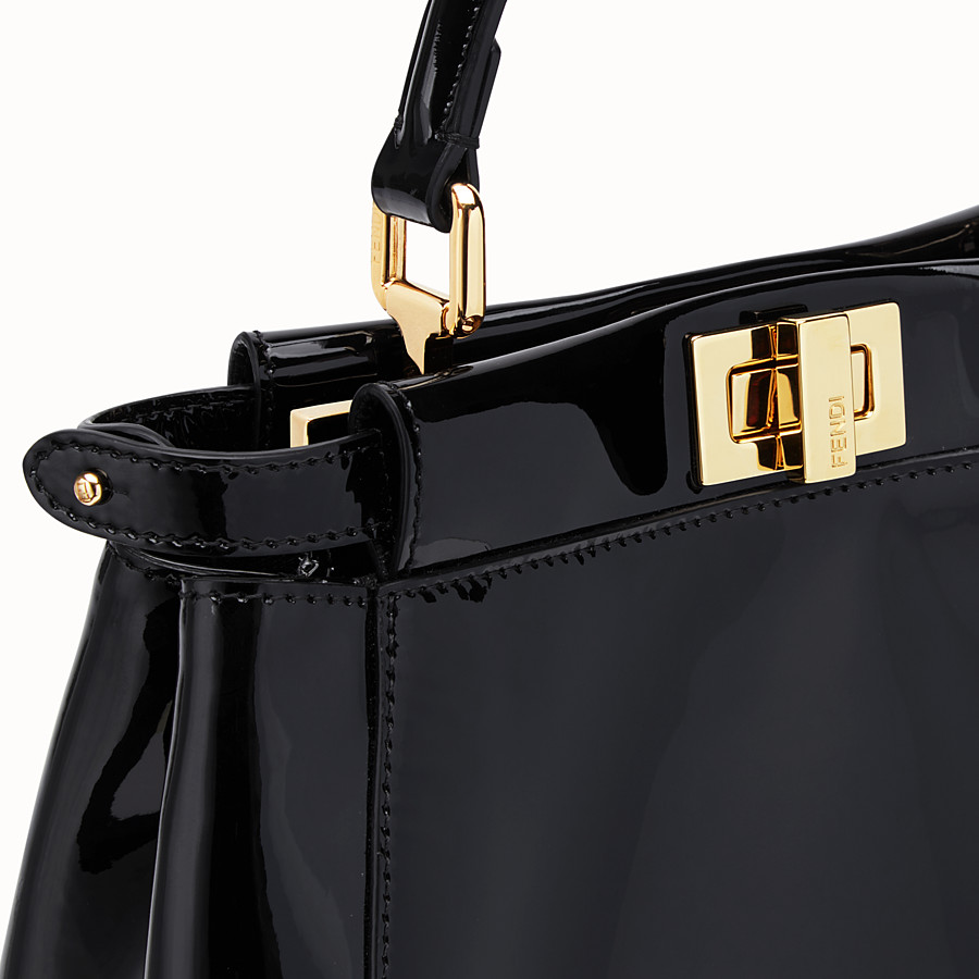 FENDI PEEKABOO ICONIC MINI - Black patent leather bag - view 6 detail