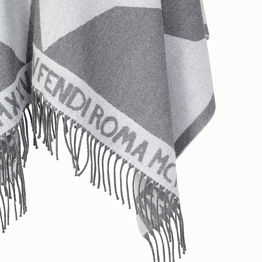FENDI TOUCH OF FUR PONCHO - Grey wool poncho - view 3 detail