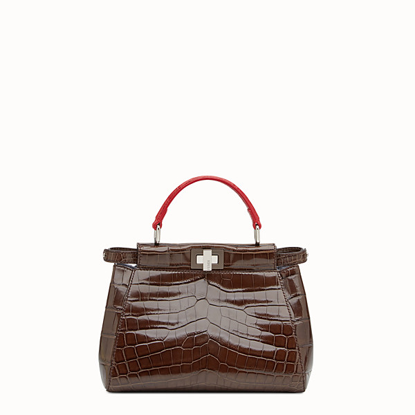 FENDI PEEKABOO MINI - Brown crocodile leather handbag. - view 1 small thumbnail