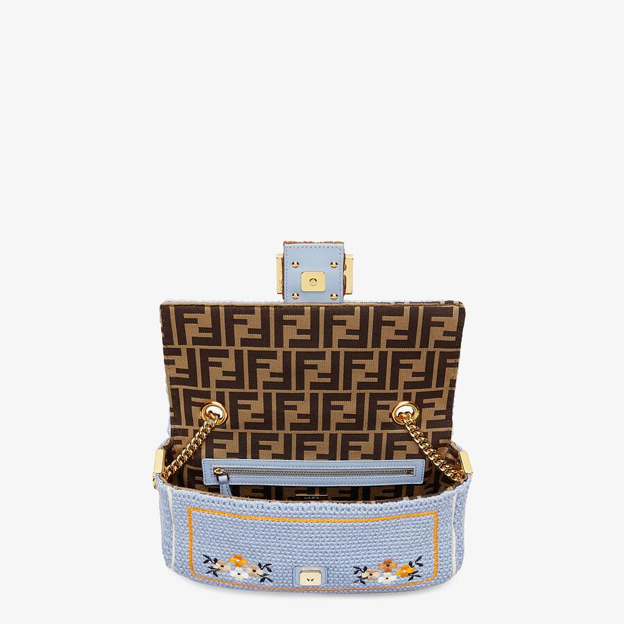 FENDI BAGUETTE - Light blue embroidered cotton bag - view 4 detail