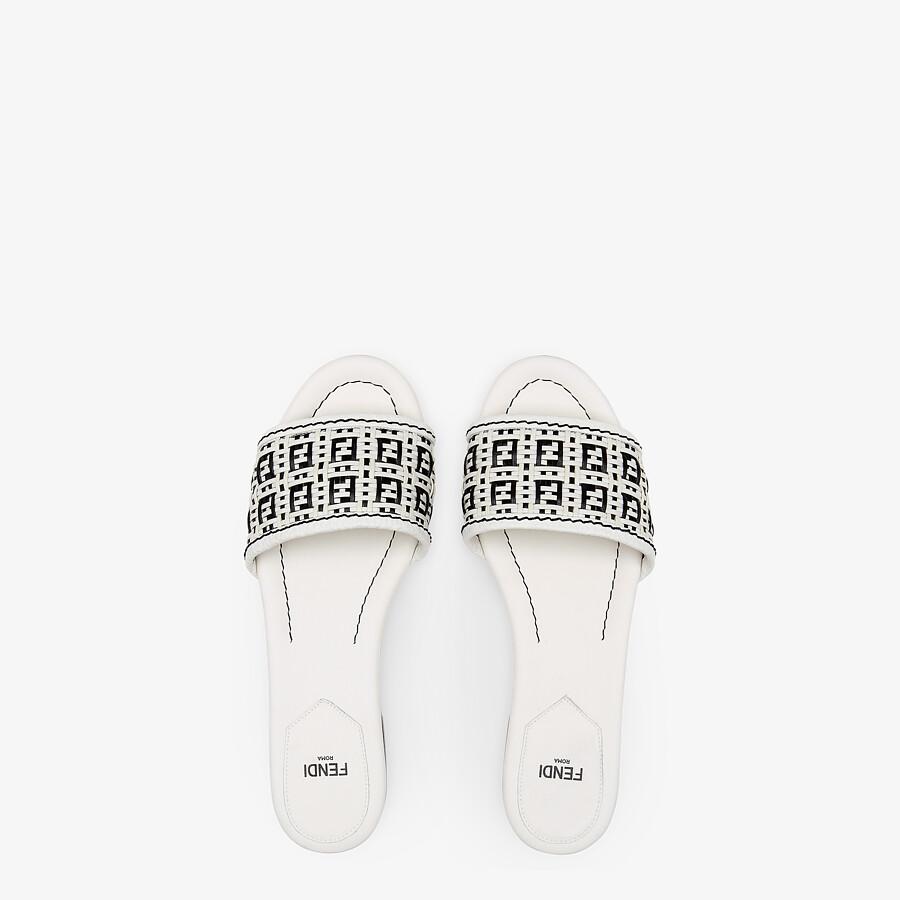FENDI FF INTERLACE SLIDES - White leather slides - view 4 detail