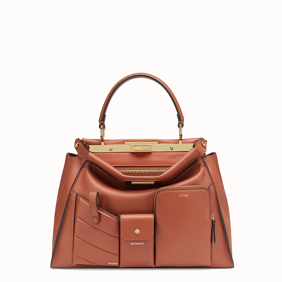 FENDI PEEKABOO REGULAR POCKET - Brown leather bag - view 1 detail