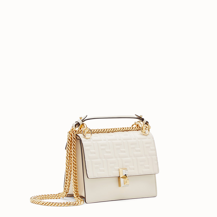 FENDI KAN I SMALL - White leather mini-bag - view 2 detail