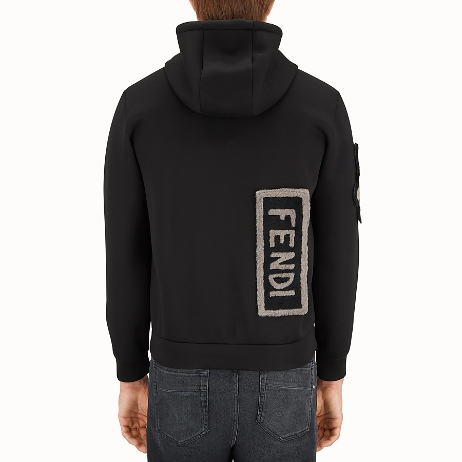 FENDI BLOUSON - Hoodie in black neoprene. - view 2 detail