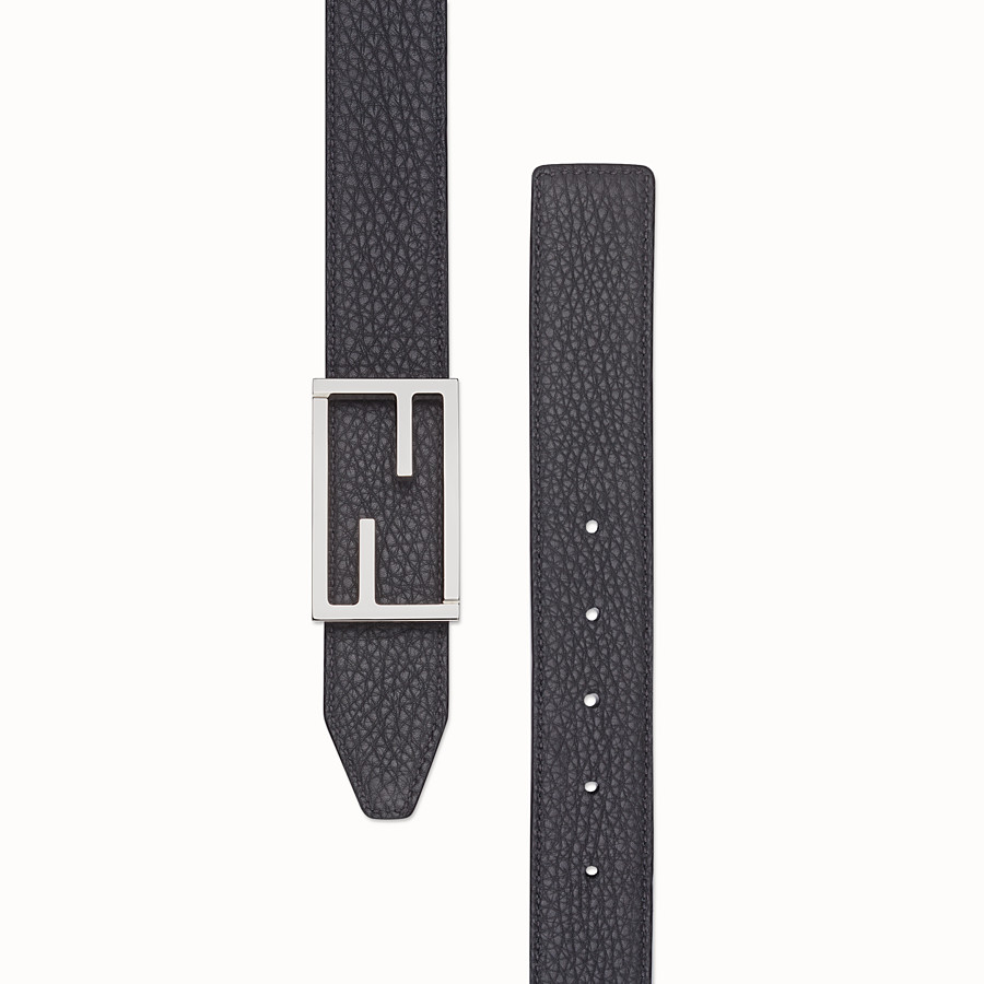 FENDI BELT - Black and gray leather belt - view 2 detail