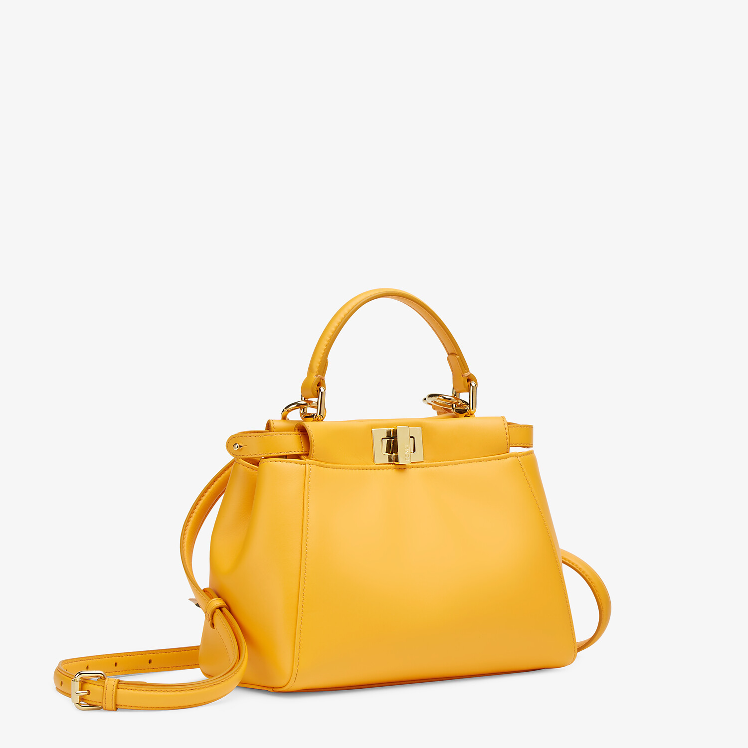 FENDI PEEKABOO ICONIC MINI - Orange nappa leather bag - view 3 detail