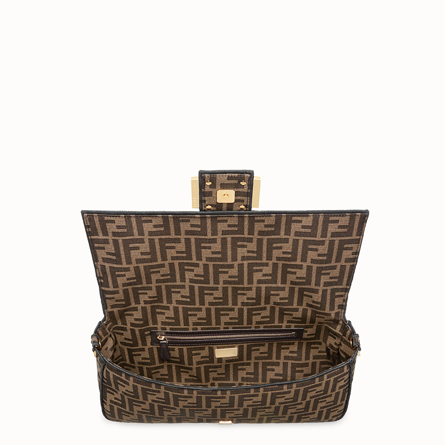 FENDI BAGUETTE LARGE - Brown fabric bag - view 4 detail