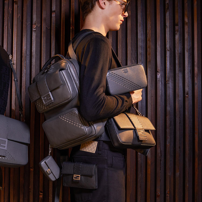 FENDI NANO BAGUETTE CHARM - Grey leather charm - view 4 detail