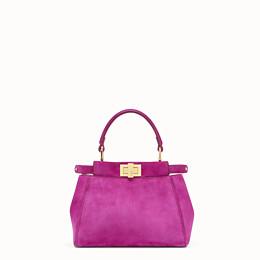 FENDI PEEKABOO ICONIC XS - Pink suede minibag - view 1 thumbnail