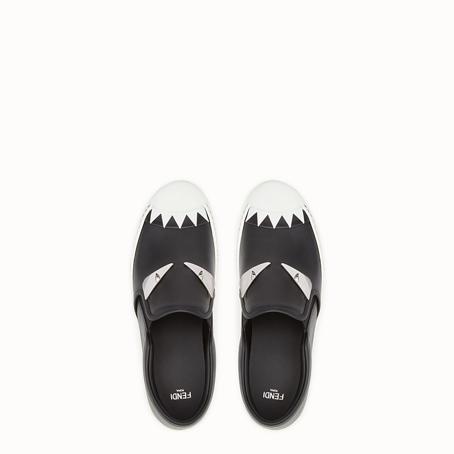 FENDI SNEAKER - Black leather slip-ons - view 4 detail