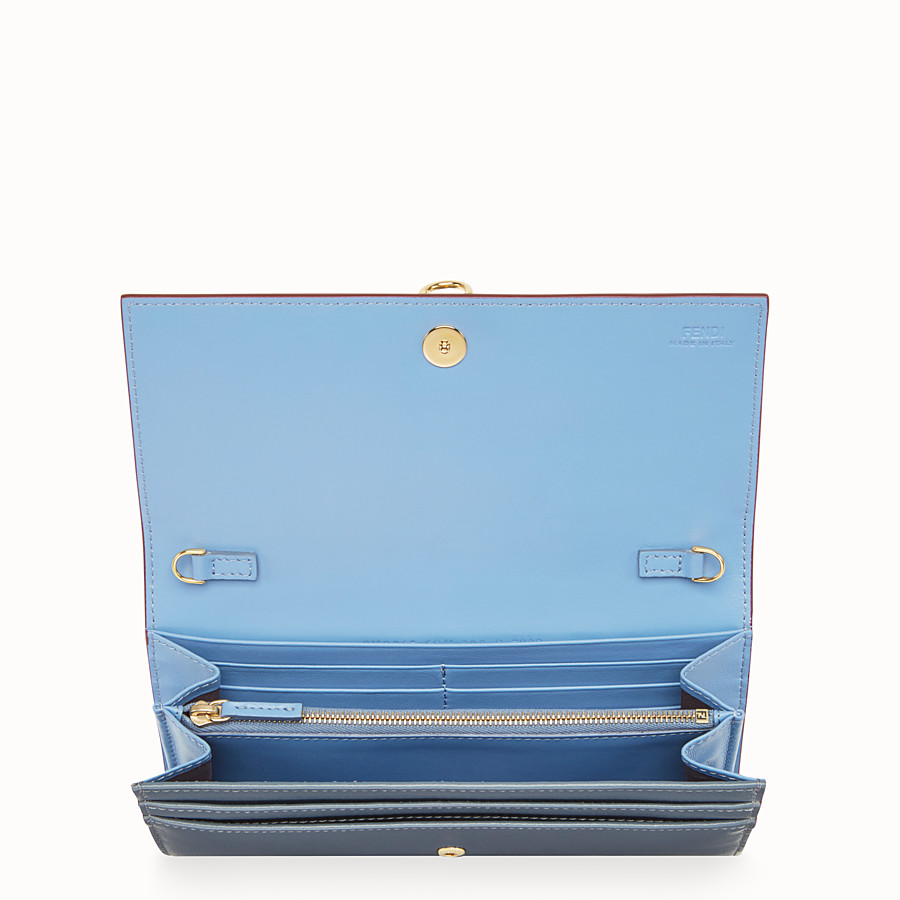 FENDI CONTINENTAL WITH CHAIN - Blue leather wallet - view 4 detail
