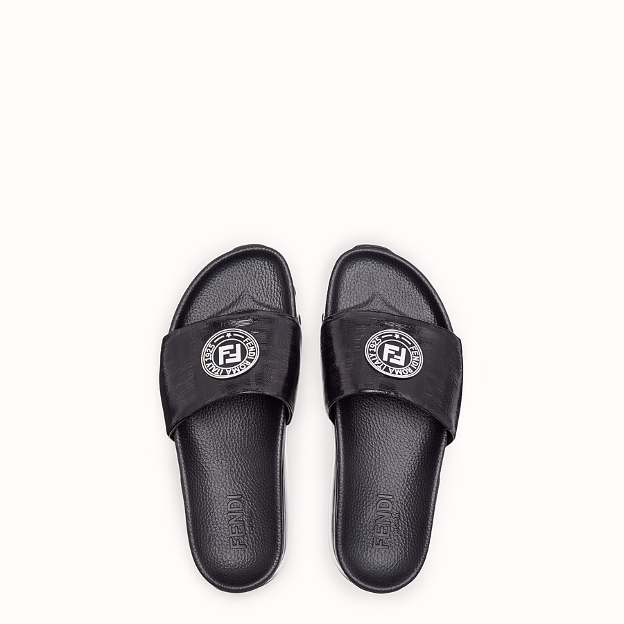 FENDI SANDALS - Black leather and PU slides - view 4 detail