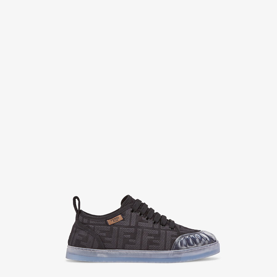 FENDI SNEAKERS - Black canvas low-tops - view 1 detail