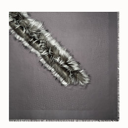 FENDI TOUCH OF FUR SHAWL - Grey silk and wool shawl - view 1 thumbnail