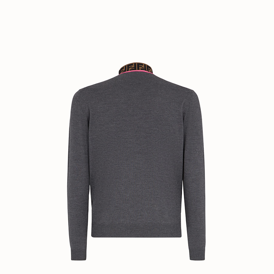 FENDI TURTLENECK - Grey wool jumper - view 2 detail
