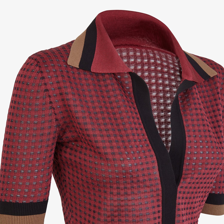 FENDI POLO SHIRT - Check silk polo shirt - view 3 detail