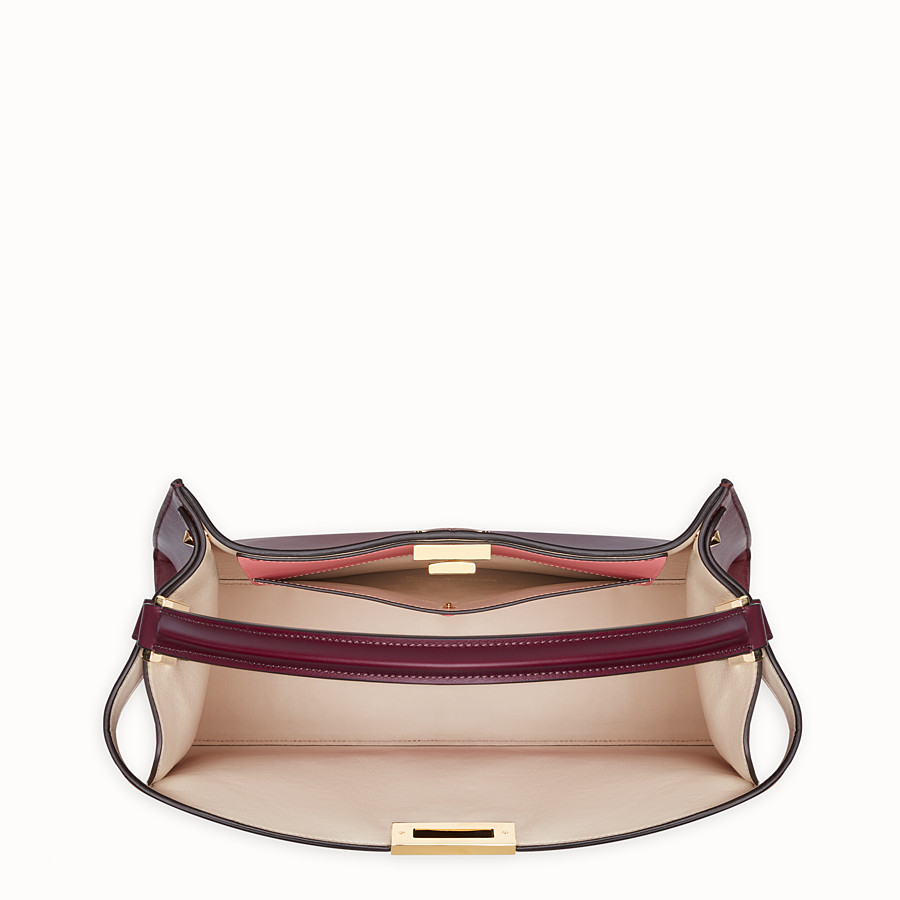FENDI PEEKABOO X-LITE LARGE - Burgundy leather bag - view 6 detail