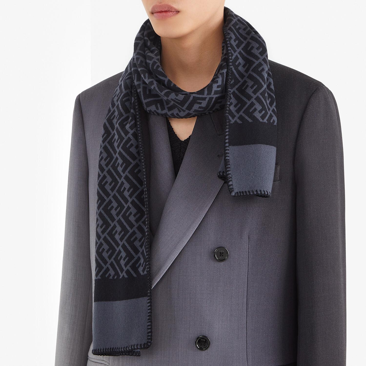 FENDI SCARF - Black wool and silk scarf - view 4 detail