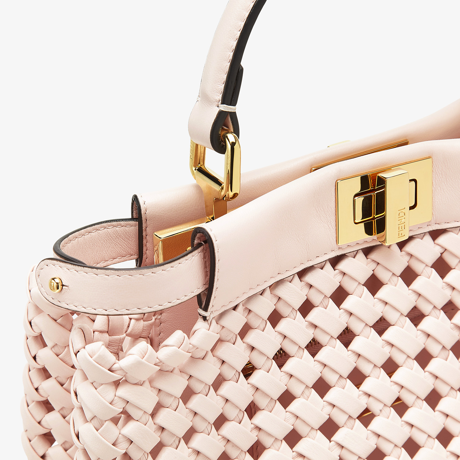 FENDI PEEKABOO ICONIC MINI - Pink leather interlace bag - view 6 detail