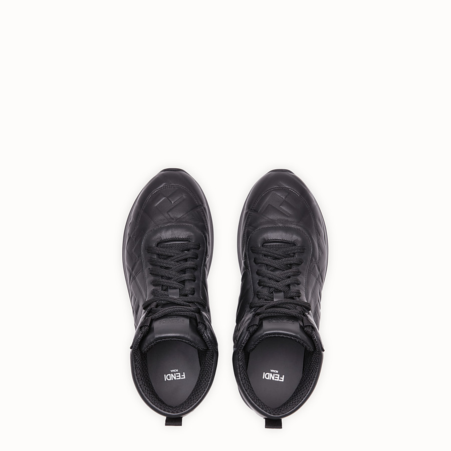 FENDI SNEAKERS - Black nappa leather high tops - view 4 detail