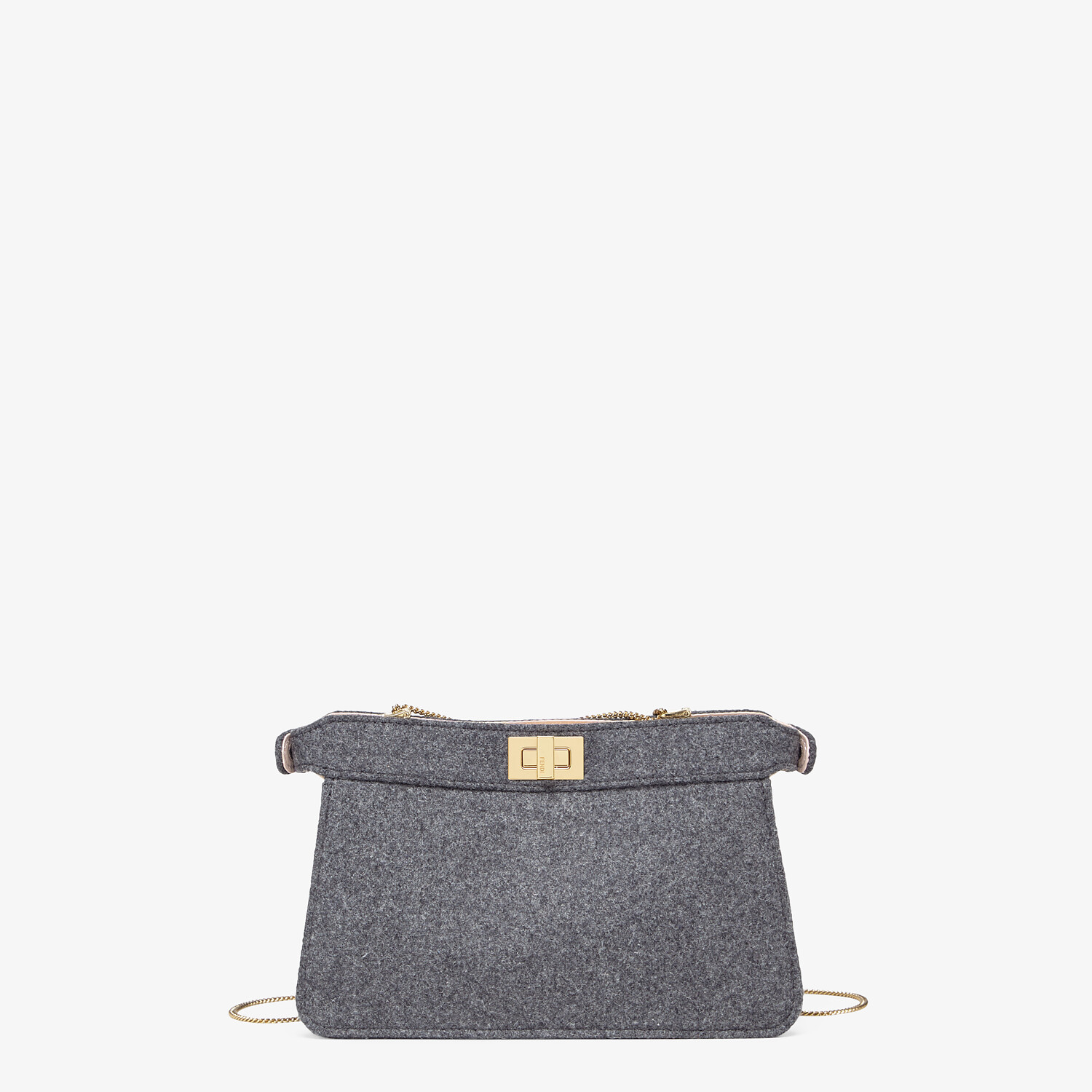FENDI PEEKABOO ISEEU POCHETTE - Gray flannel bag with fringes - view 3 detail
