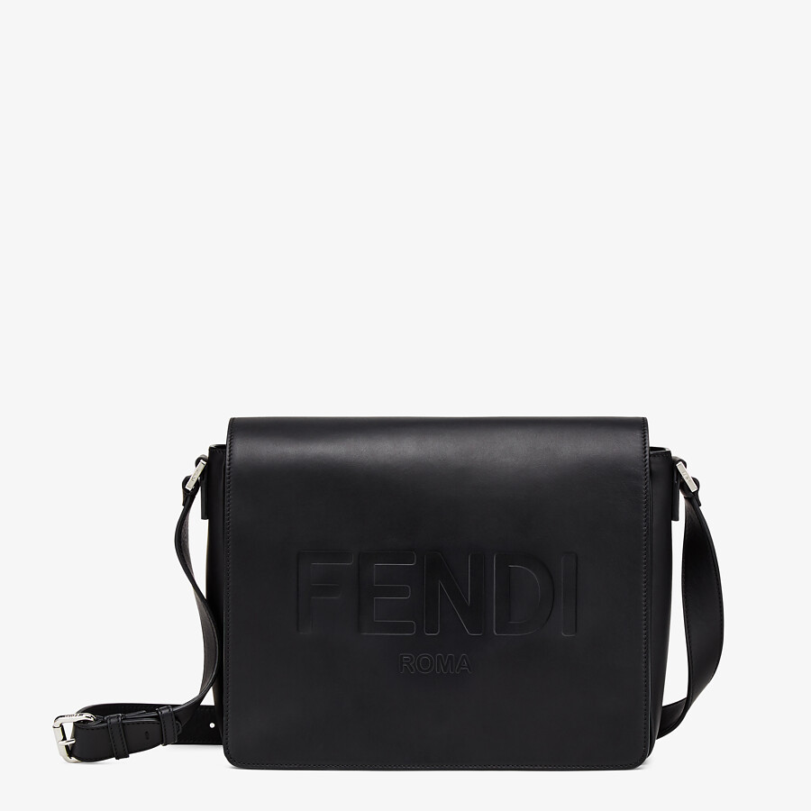 FENDI MESSENGER - Black leather bag - view 1 detail