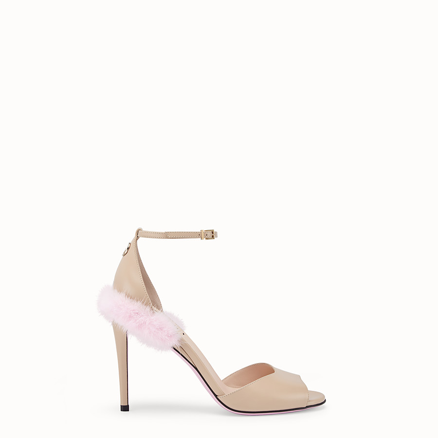 FENDI SANDALS - Beige leather high sandals - view 1 detail