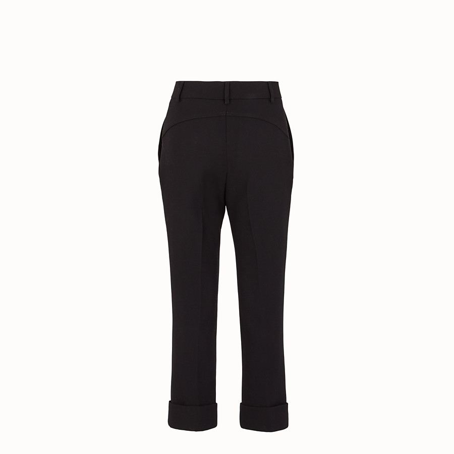 FENDI TROUSERS - Black wool crêpe trousers - view 2 detail
