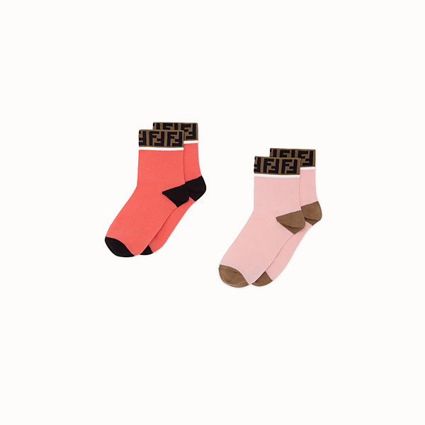 FENDI SOCKS - Two pairs of pink cotton socks - view 1 small thumbnail