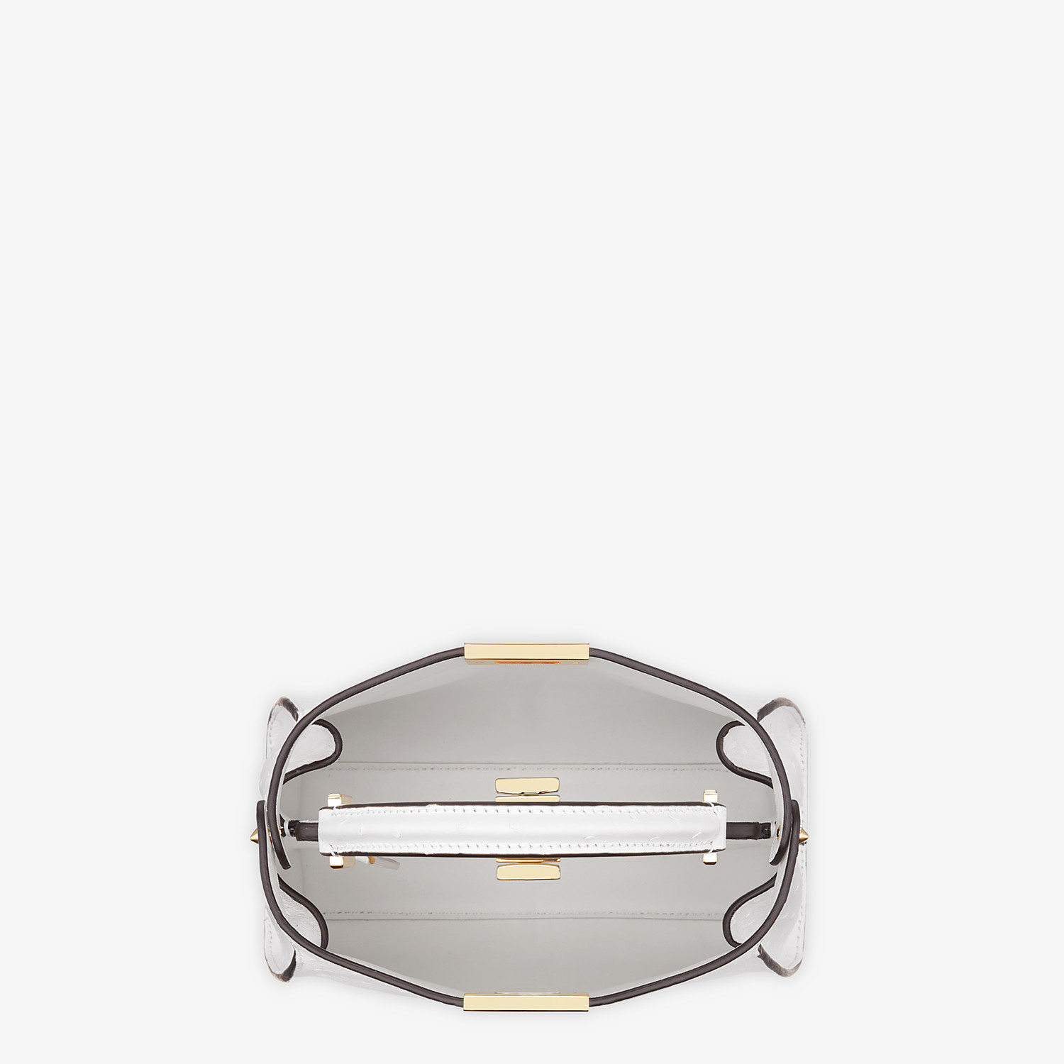 FENDI PEEKABOO ICONIC ESSENTIALLY - White ostrich leather bag - view 4 detail