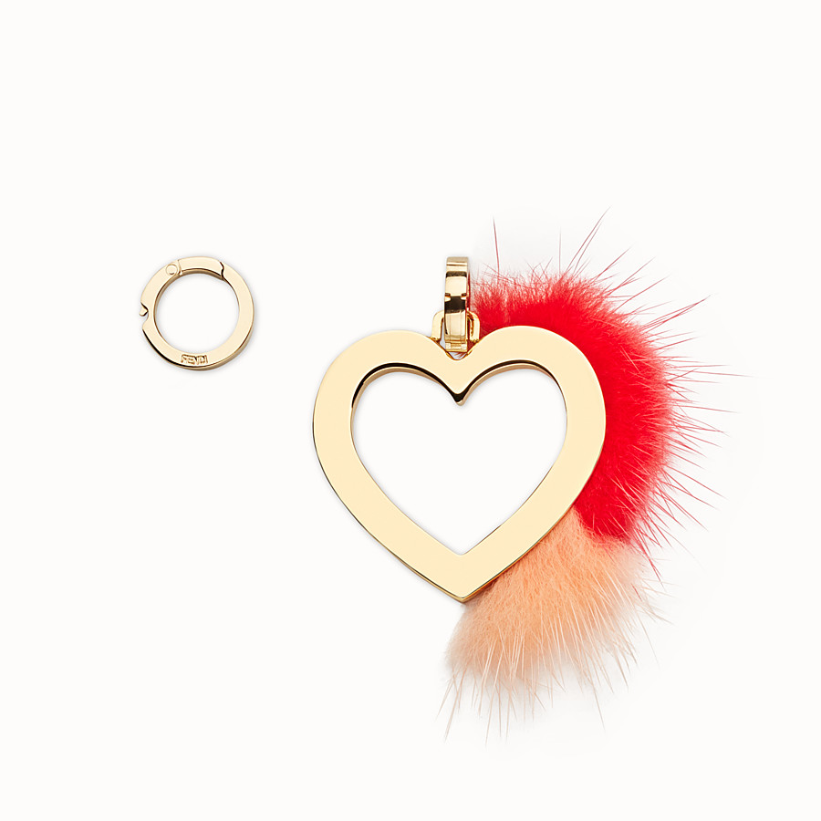FENDI ABCLICK CHARM - Heart charm with fur - view 1 detail