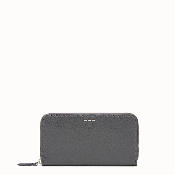 FENDI ZIP-AROUND - Slender wallet in grey Roman leather - view 1 small thumbnail