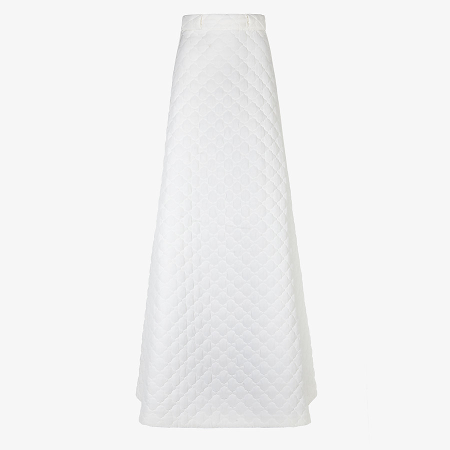 FENDI SKIRT - White quilted crêpe de Chine skirt - view 1 detail