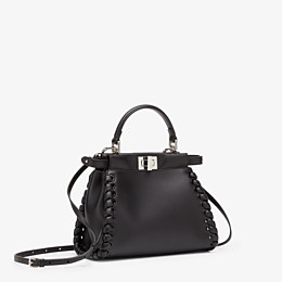 FENDI PEEKABOO ICONIC MINI - black nappa handbag with weave - view 2 thumbnail