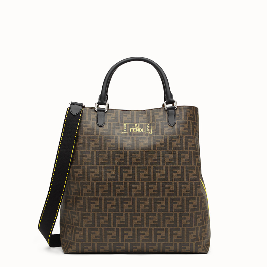 FENDI TOTE BAG - Shopper in brown fabric - view 1 detail