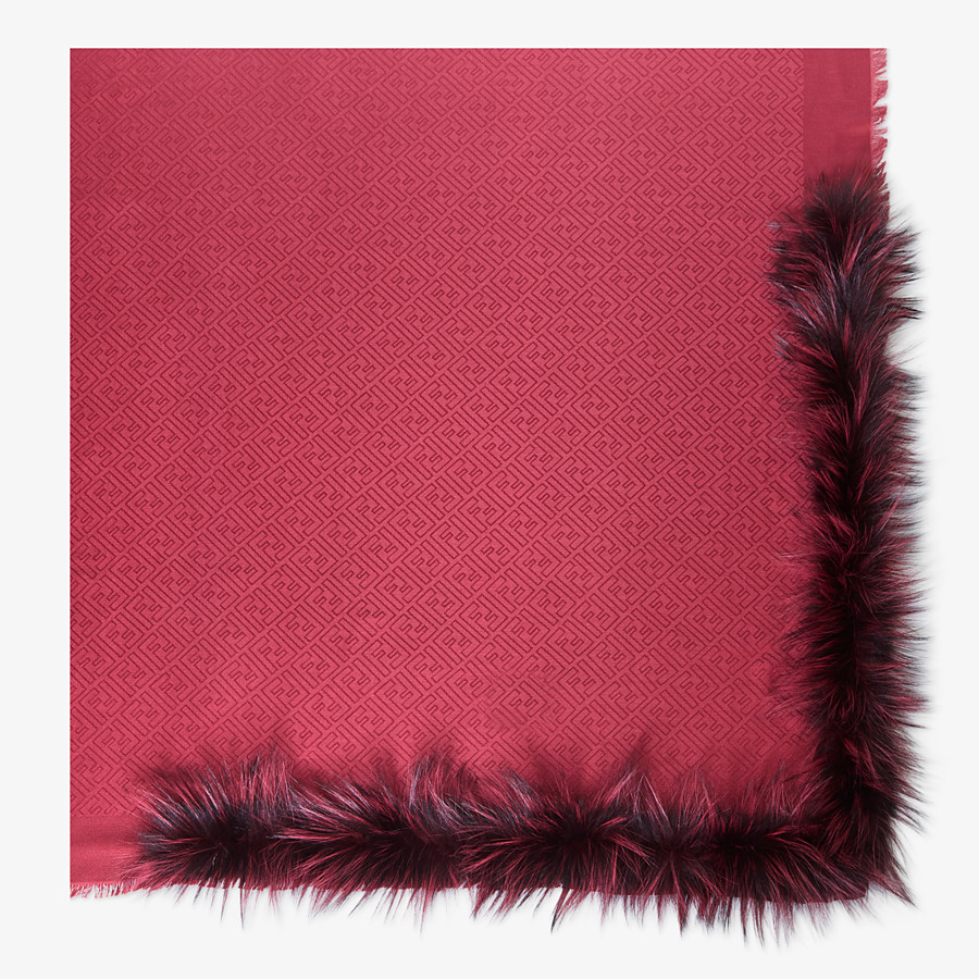 FENDI TOUCH OF FUR SHAWL - Red silk and wool shawl - view 1 detail