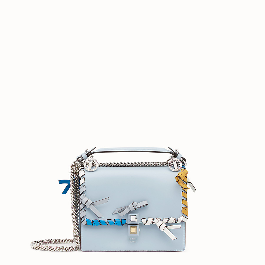 FENDI KAN I SMALL - Light blue leather mini-bag - view 1 detail