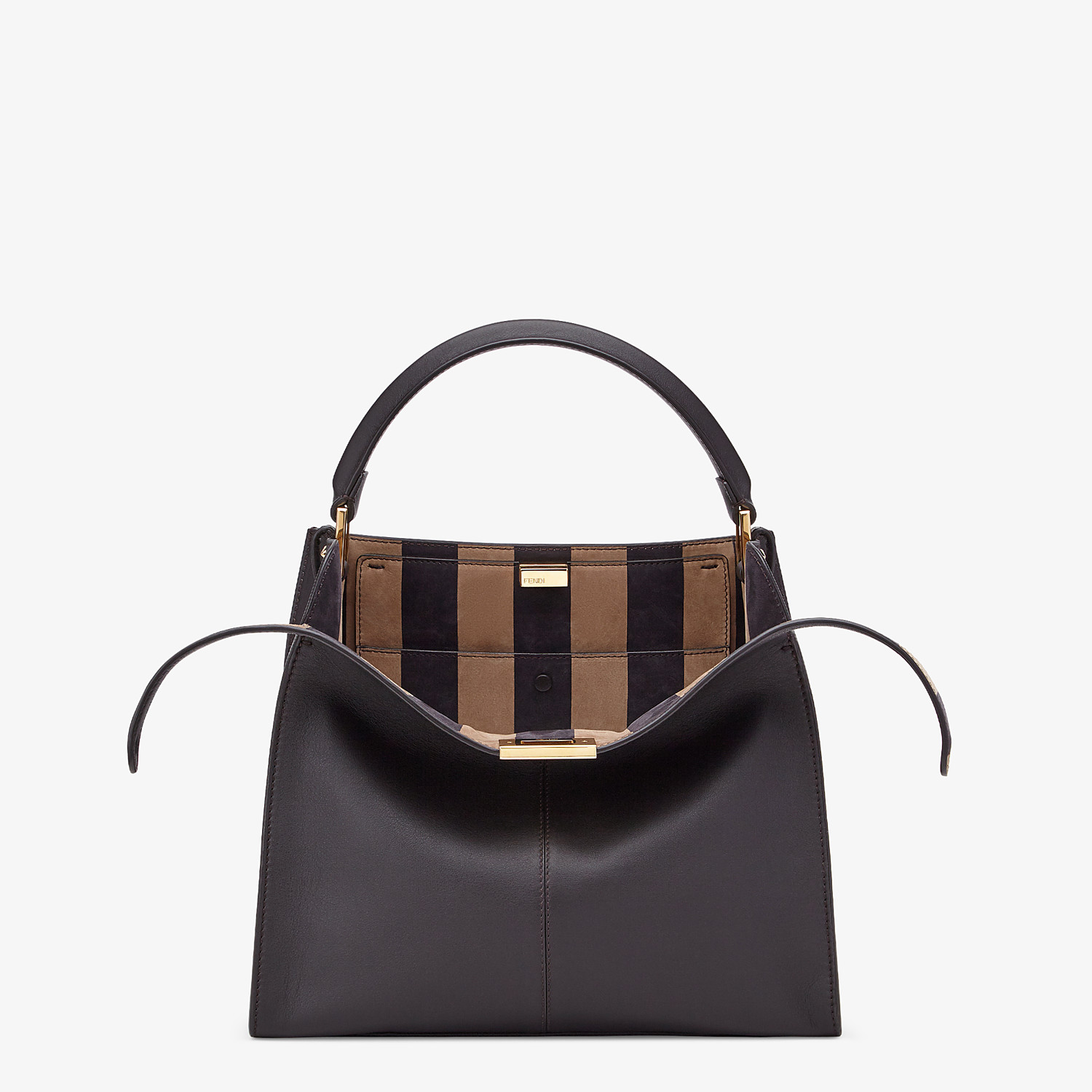 FENDI PEEKABOO X-LITE MEDIUM - Borsa in pelle marrone - vista 1 dettaglio