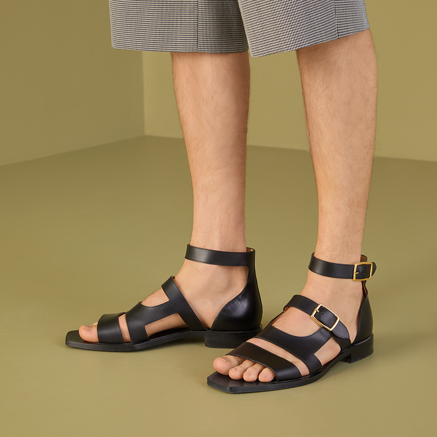 FENDI SANDALS - Black leather sandals - view 5 detail