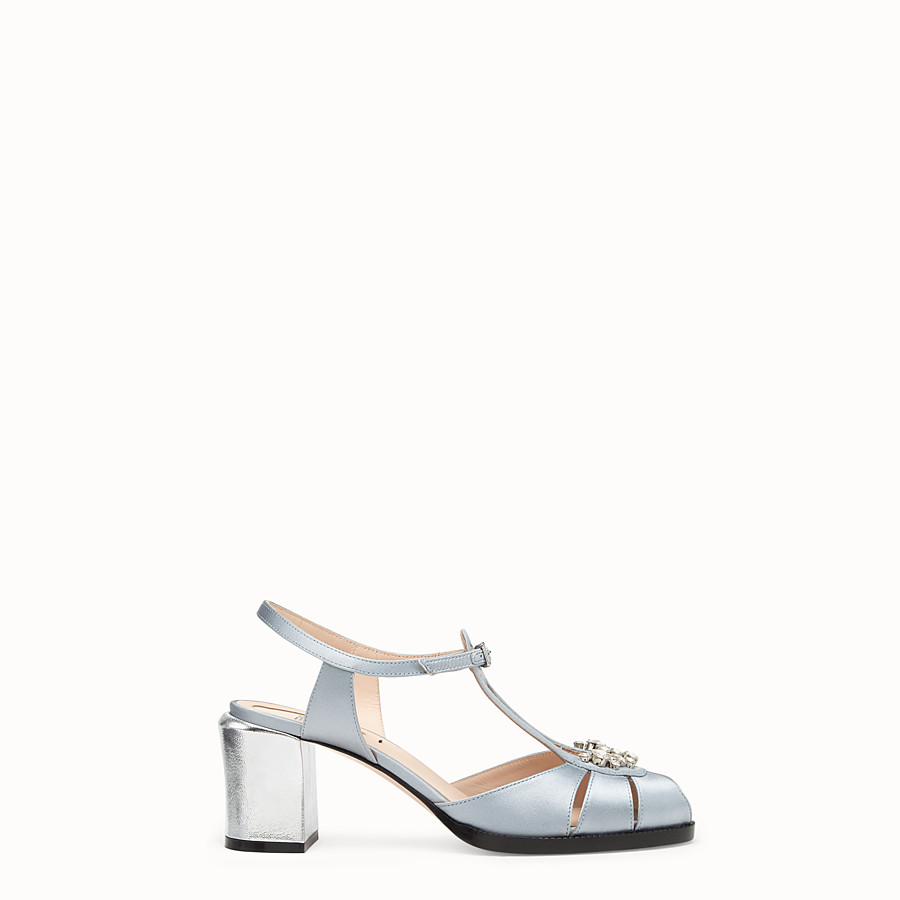FENDI SANDALS - Grey satin sandals - view 1 detail