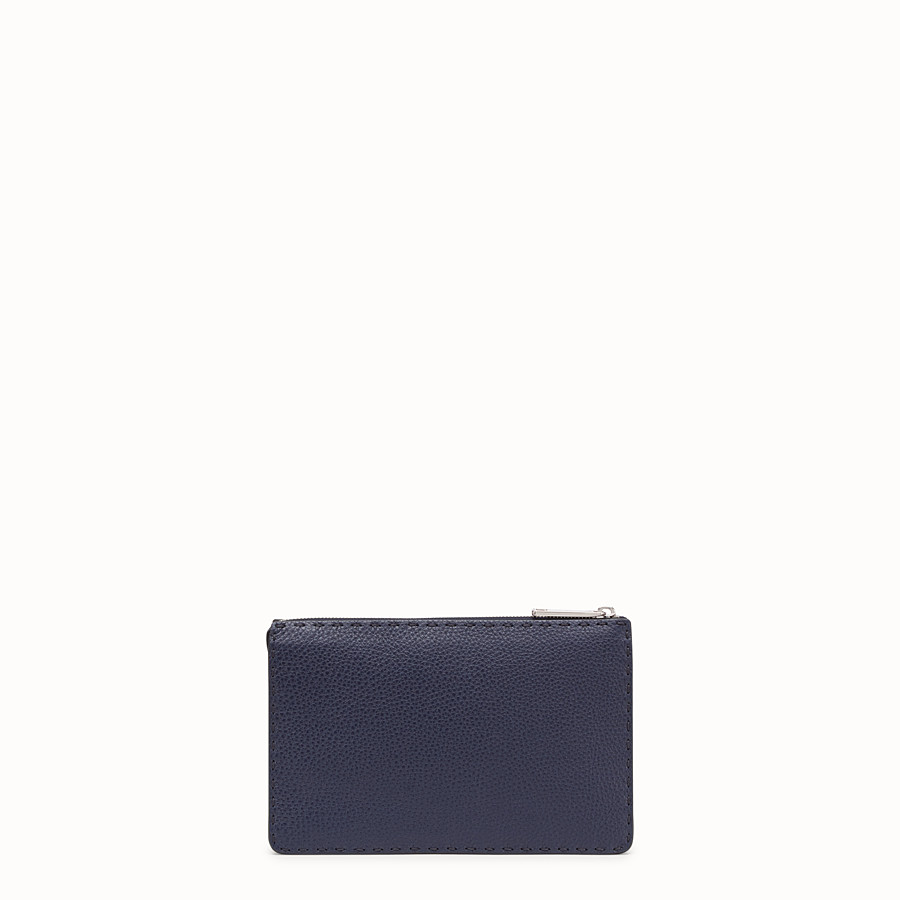 FENDI CLUTCH - Blue Romano leather pochette - view 3 detail
