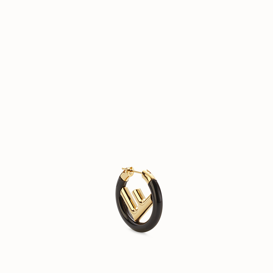 FENDI F IS FENDI EARRING - Gold and black coloured earring - view 1 detail