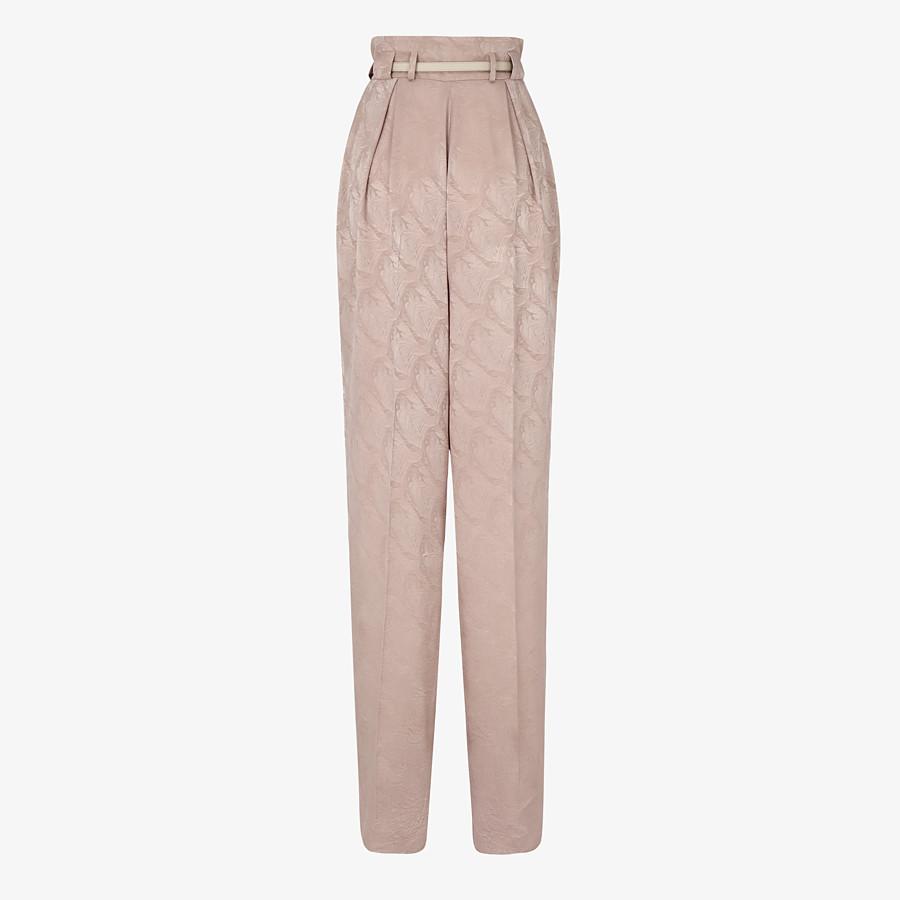 FENDI TROUSERS - Beige silk trousers - view 2 detail