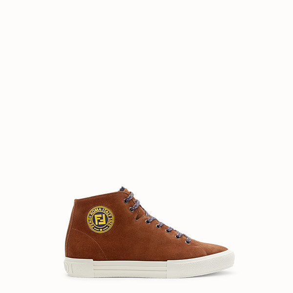 FENDI SNEAKERS - Brown split leather high-tops - view 1 small thumbnail