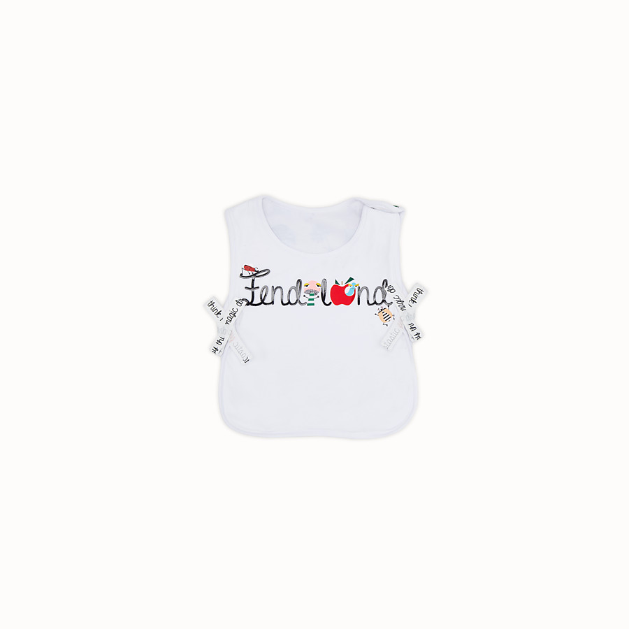 FENDI BUNX BIB - White, beige and multicolour jersey bib - view 1 detail