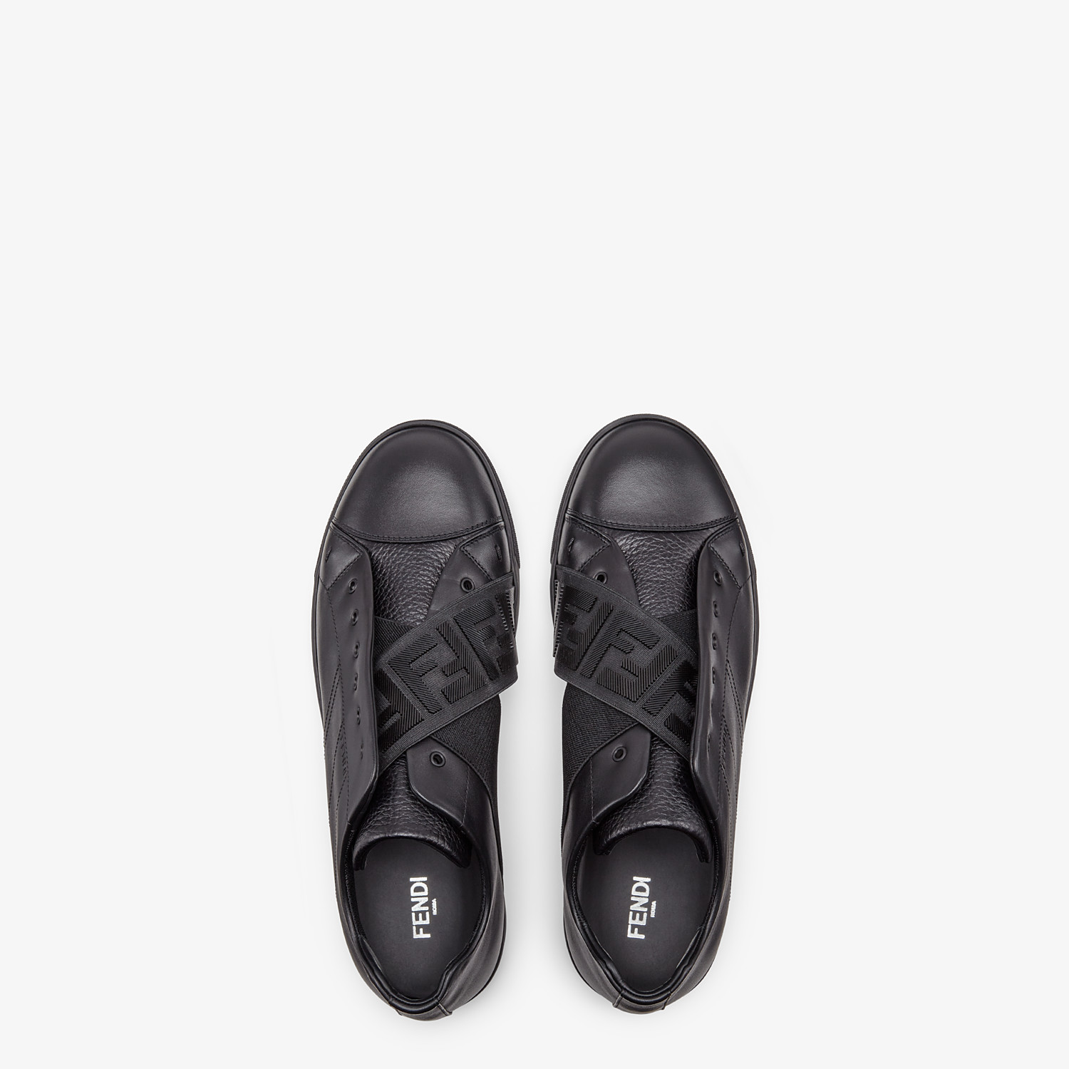 FENDI SNEAKERS - Black leather slip-ons - view 4 detail